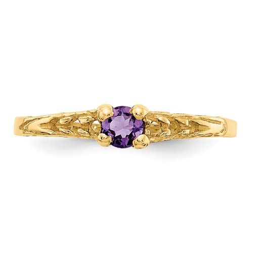 Childrens Jewelry 3mm Amethyst Ring 14K Yellow Gold