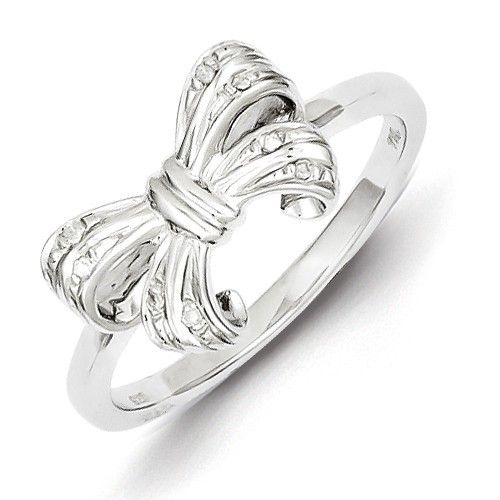 Sterling Silver Rhodium Plated Diamond Bow Ring Size 7