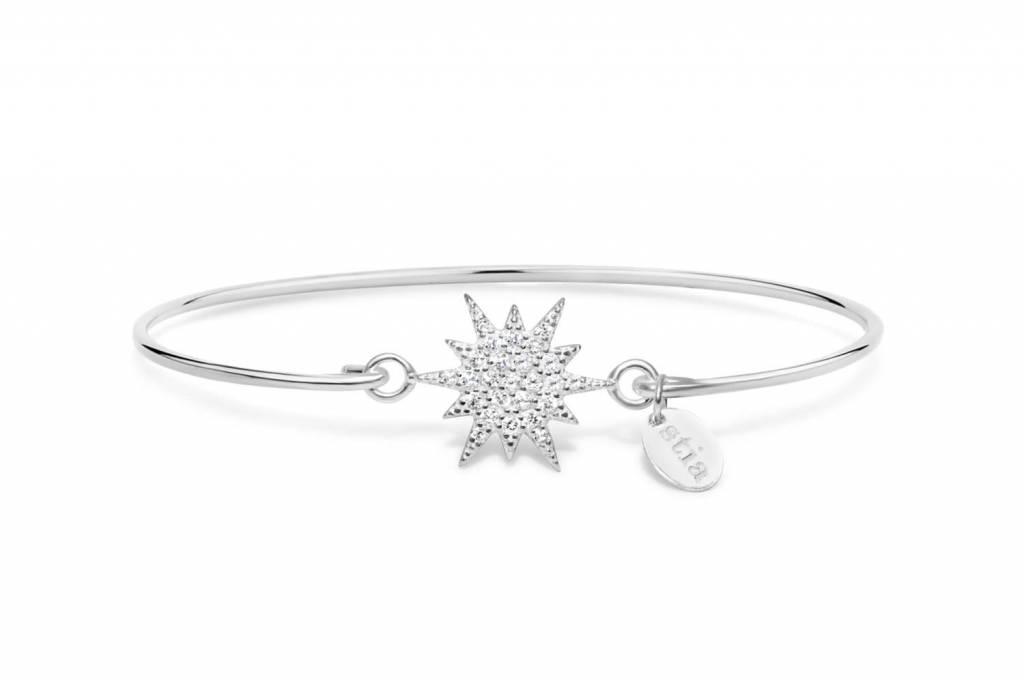 Stia Stia Sterling Silver Cuff PAVÉ ICON Bracelet - Starburst