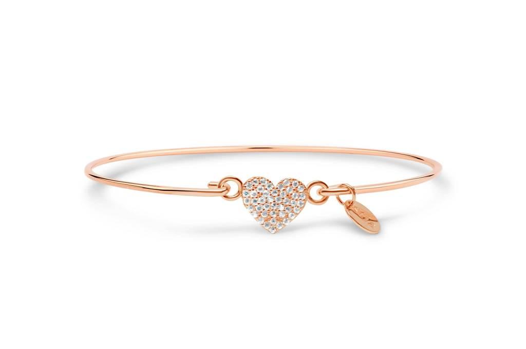 Stia Stia Sterling Silver Rose Vermeil Cuff PAVE ICON Bracelet - Heart