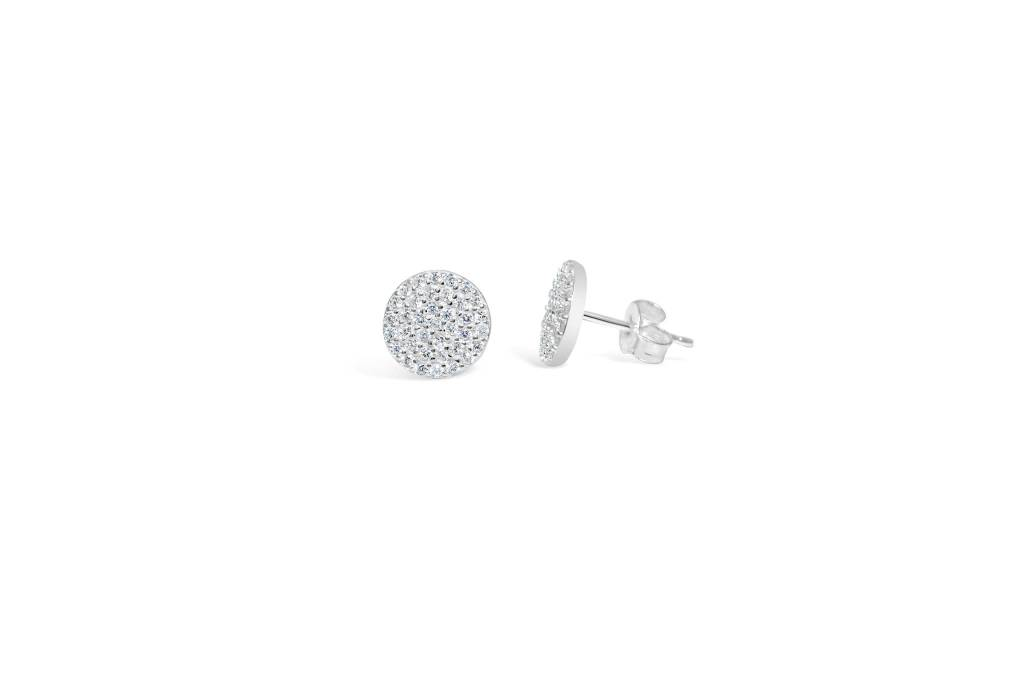 Stia Stia Sterling Silver  Pave Disk Earring - Silver