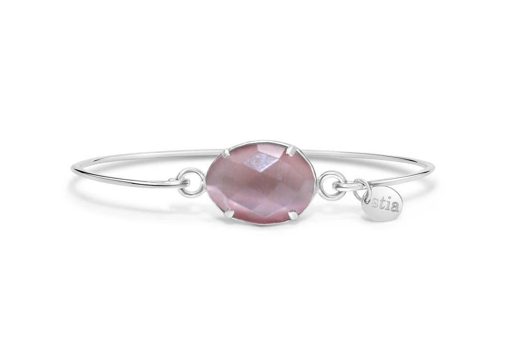 Stia Stia Sterling Silver Cuff Freeform Gemstone Bracelet - Dusty Rose Monalisa