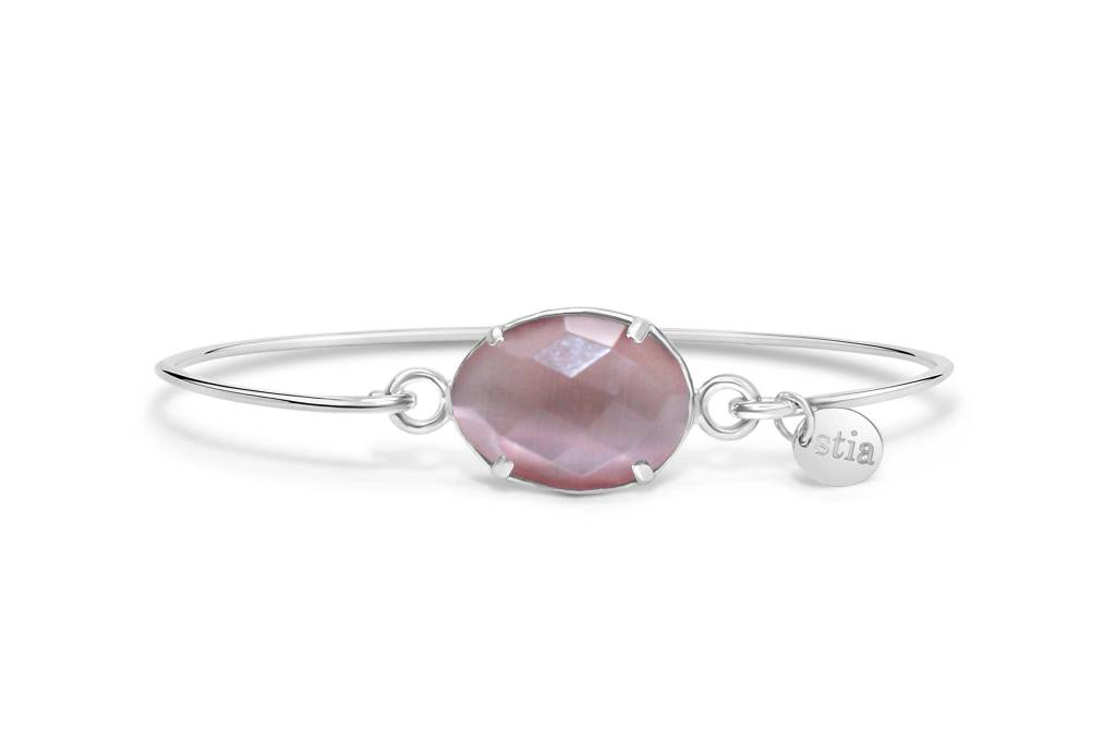 Stia Stia Sterling Silver Cuff Freeform Prong Gemstone Bracelet - Dusty Rose Monalisa