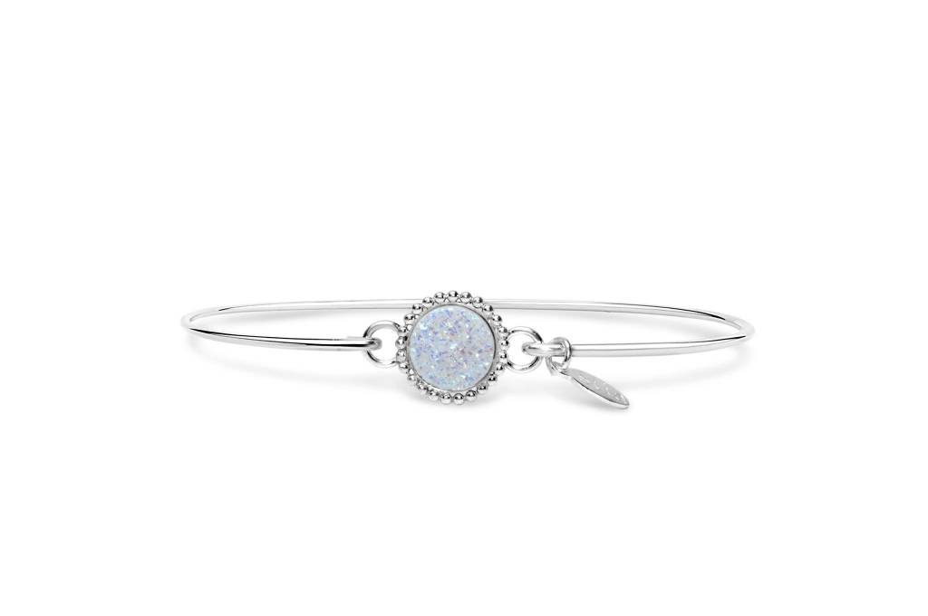 Stia Stia Sterling Silver Cuff Druzy Beaded Edge Mini Bracelet - Opal
