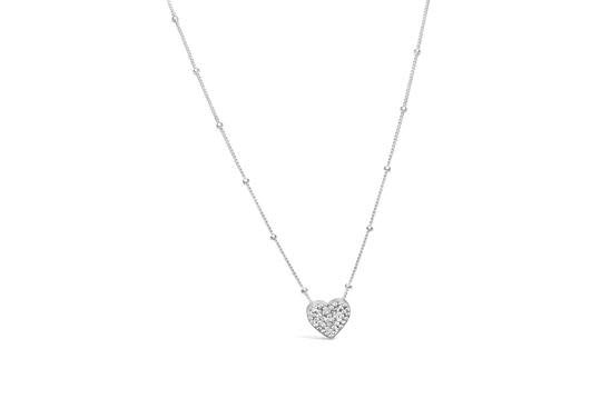 Stia Stia Sterling Silver Charm & Chain Necklace- Pave Heart