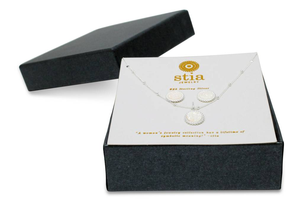 Stia Stia Sterling Silver  Druzy Necklace & Earring Set (Mini) - Opal Druzy Boxed