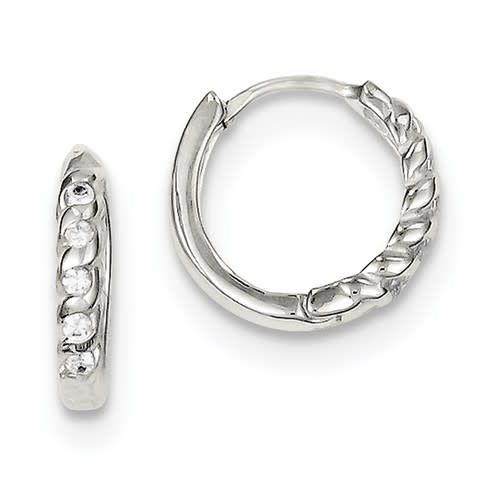 Sterling Silver CZ Twist Huggy Earrings