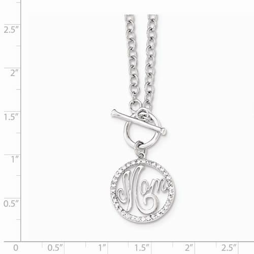 Sterling Silver Polished CZ Mom Necklace front toggle 18""