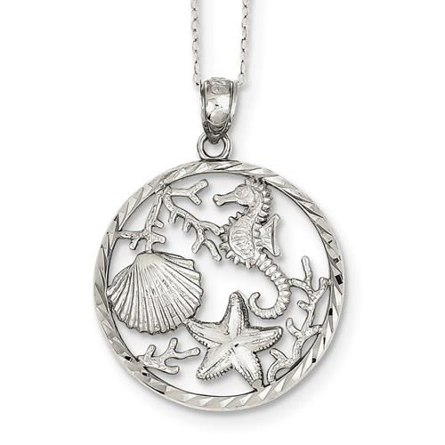 Quality Gold Beach Sterling Silver Diamond Cut Circle Starfish Seahorse Shell Coral 18in Box Chain