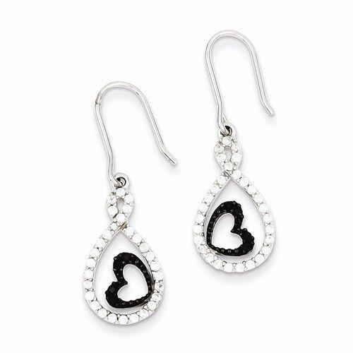 Sterling Silver Clear CZ Twisted Teardrop Black Heart Earrings