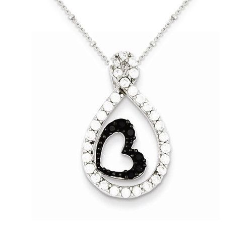 Sterling Silver Clear CZ Twisted Teardrop Black Heart Pendant on 18in Chain