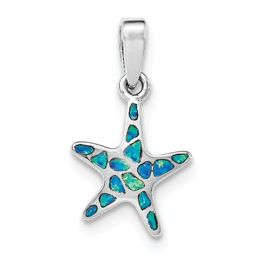 Quality Gold Sterling Silver Created Blue Opal Starfish Pendant On 18in Chain