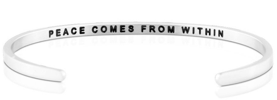 Mantra Bracelet : Peace Comes From Within , Stainless Finish