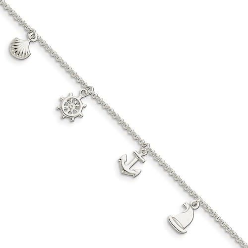 Sterling Silver Polished Ship Wheel, Anchor, Boat, Shell 9in w/1in ext. Anklet