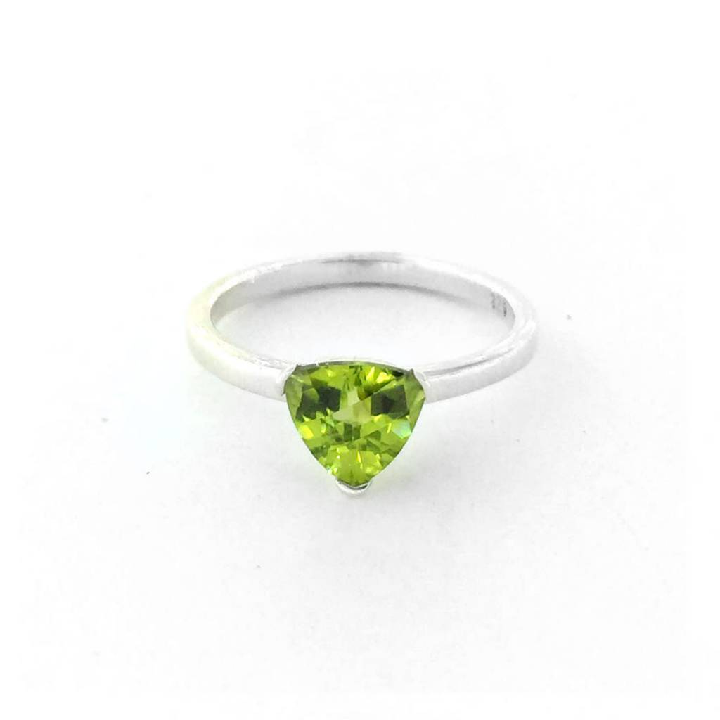 Sterling Silver Peridot Trillion Shape Checkerboard Cut Ring Size 6.5
