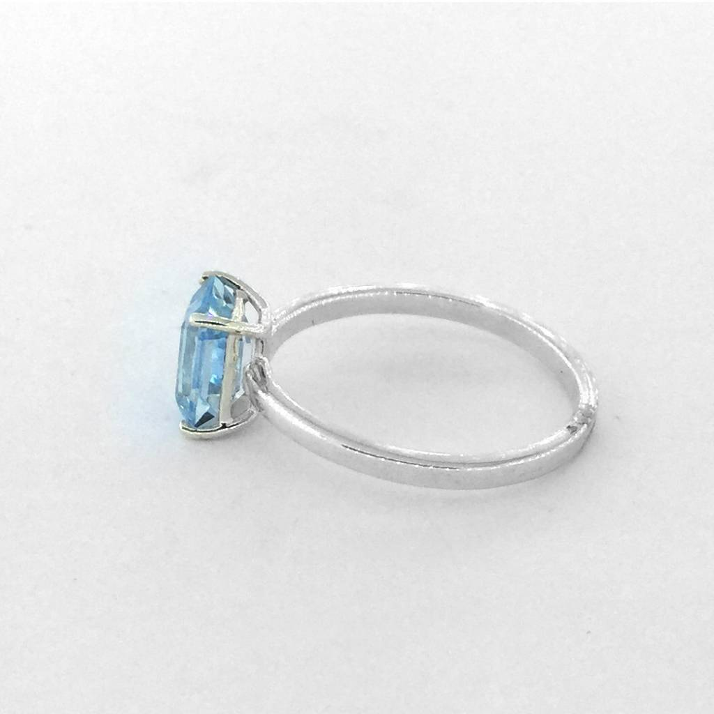 Sterling Silver Light Blue Topaz Emerald Cut Ring Size 6.5