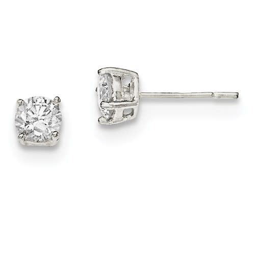 Quality Gold Sterling Silver Polished 5mm CZ Post Earrings