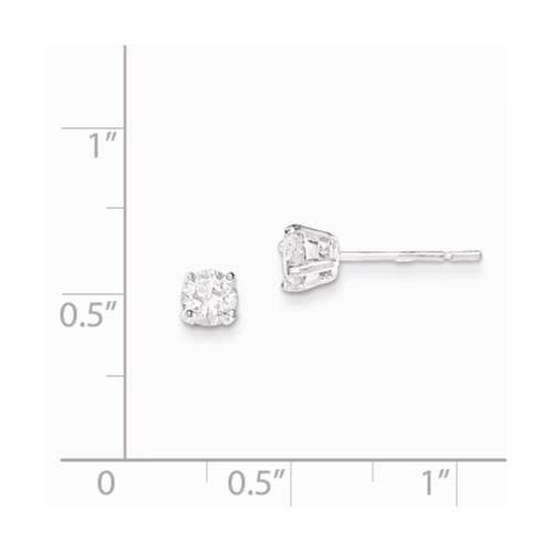 Quality Gold Sterling Silver Polished 4mm Round CZ Post Earrings