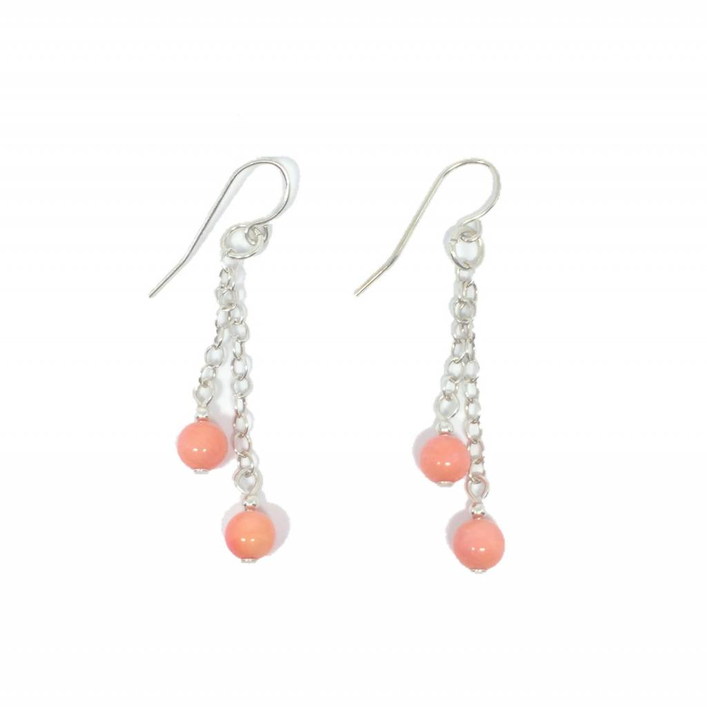 Sterling Silver Ball Coral Dangle Earring
