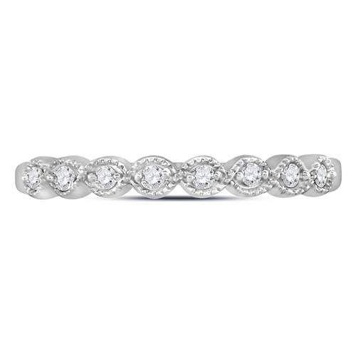 10K White Gold Diamond Stackable Ring Circle Milgrain Detail 1/10ct Size 7