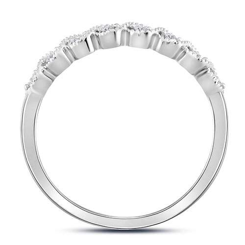 10K White Gold Diamond Stackable Ring Circle Milgrain Detail 1/10ct