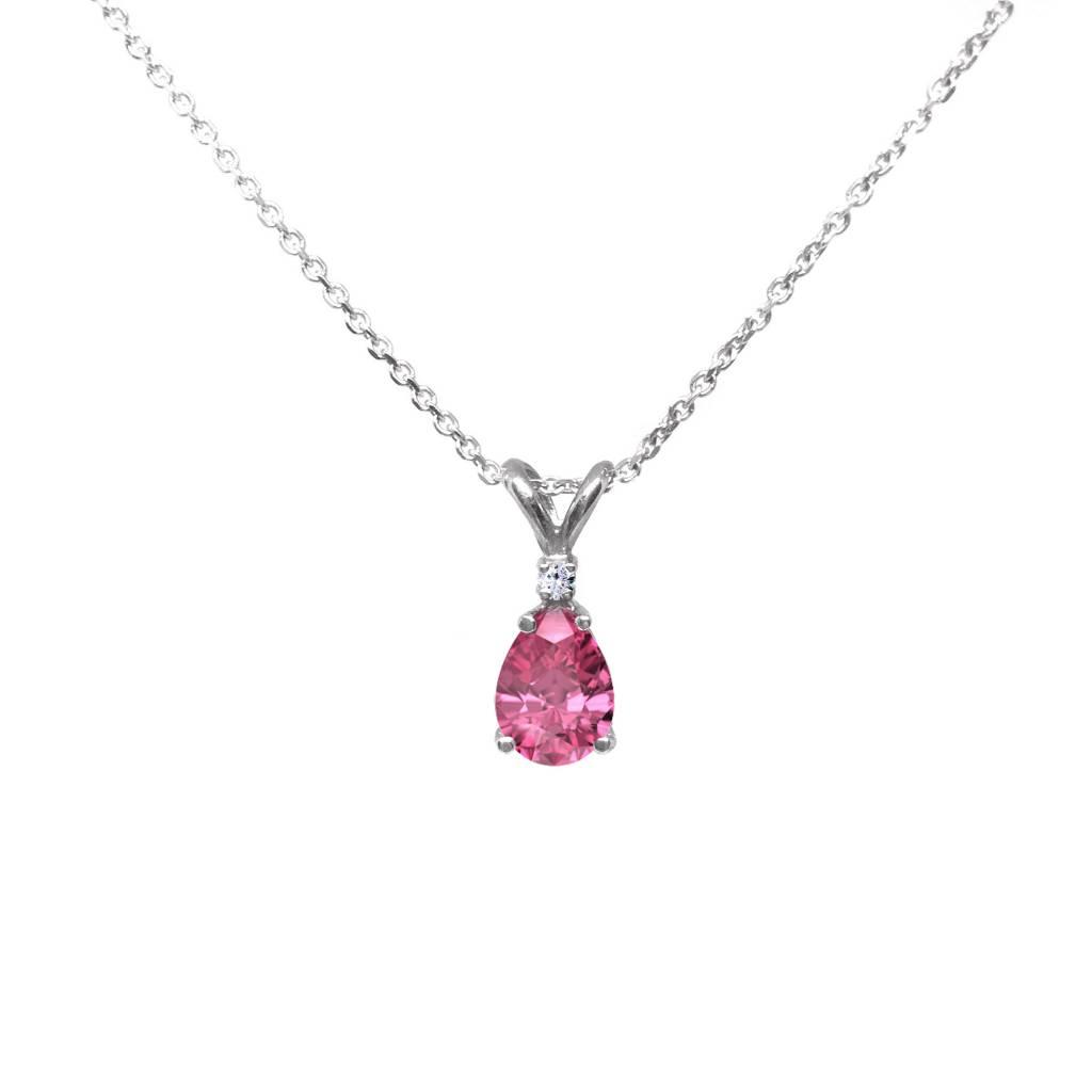 14K White Gold Diamond & Pear Shaped Pink Tourmaline Necklace