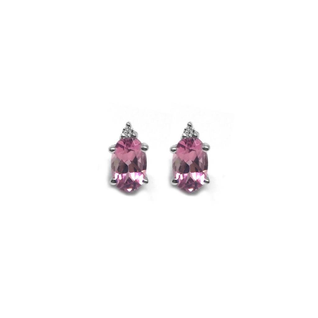 14K White Gold Oval Pink Tourmaline & Diamond Stud Earrings