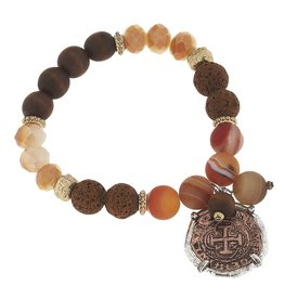 Canvas Jewelry Bracelet-Gemstone, Brown Agate, Coin