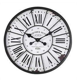 "24"" Metal & Wood Clock-Vintage French Hotel"