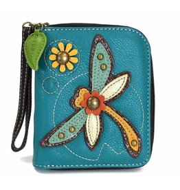 Chala Bags Wallet-Zip Around-Dragonfly-Turquoise