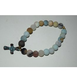 Brown Eyed Gal Bracelet-Amazonite & Greek Patina Cross