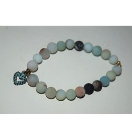 Brown Eyed Gal Bracelet-Amazonite & Greek Patina Heart