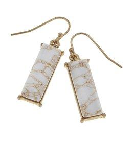 Canvas Jewelry Earrings-Gemstone Bar-White Jasper