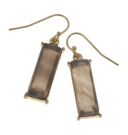 Canvas Jewelry Earrings-Gemstone Bar-Grey Agate