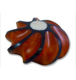 "Circa Home 55 Wave Round Candle Holder-""ORANGE"""
