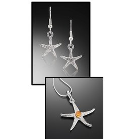 3 Escargots Earrings & Pendant SET-Starfish (chain NOT included)