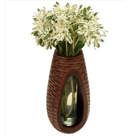 Circa Home 55 Carved Tear Drop Vase-Mango Wood