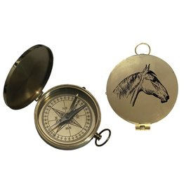 "3"" Flat Compass w/Lid & Horse Engraving"