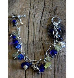 Lotus Moon Arts Bracelet-Sea Glass Charm Cobalt & Butter