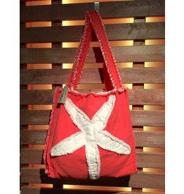 Canvas Beach Tote - Coral with White Starfish