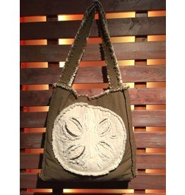 Canvas Beach Tote - Mocha with Ivory Sand Dollar