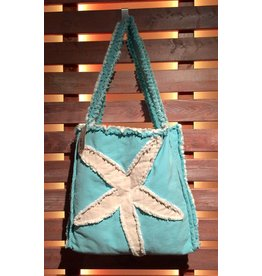 Canvas Beach Tote - Blue with Ivory Starfish