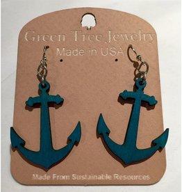 Green Tree Earrings Wood-Anchor (Blue)