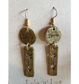 Lula n Lee Earrings-Brass Round Arrow with Arrow Plank