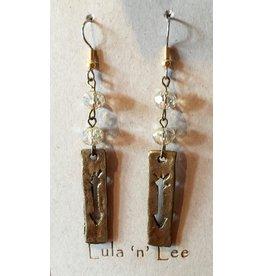Lula n Lee Earrings-Crystal & Arrow Plank
