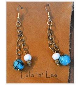 Lula n Lee Earrings-Turquoise & Bone Dangle