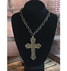 "Lula n Lee Necklace 18""-Chunky Brass Chain with Brass Cross"