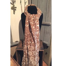 "Art Studio Company Scarf Batik-""Flowers & Spots""-Beige Brown"