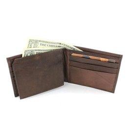 Bi-Fold Mens Wallet-Goat Skin BROWN