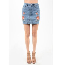 Hammer Collection Skirt-Denim with Embroidered Roses